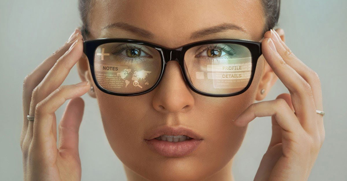 Close up shot of woman wearing smart glasses wearable technology