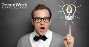 Wealth Management at DreamWork Financial - Great Idea - Guy getting an idea with dreamwork logo bulb