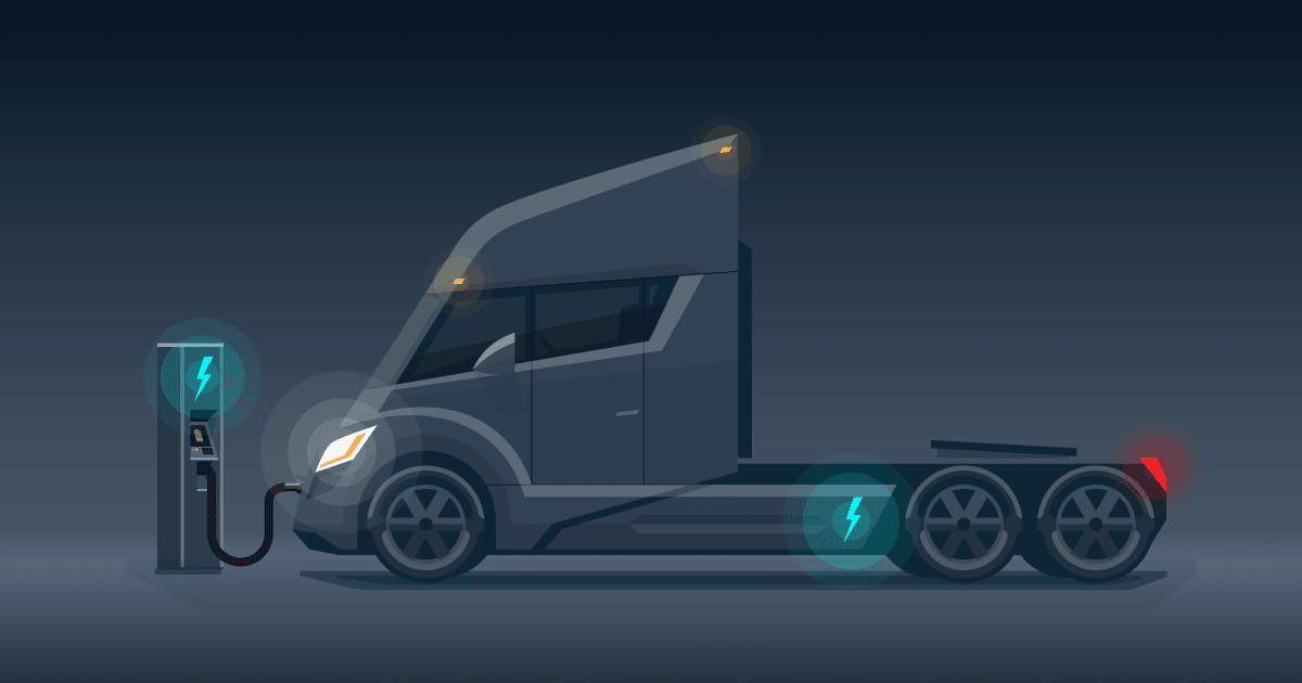 graphic of electric semi truck of the future