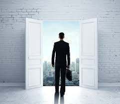 Man walking out a door. Let us open your eyes to informed investing.