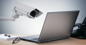 Picture of camera spying on laptop