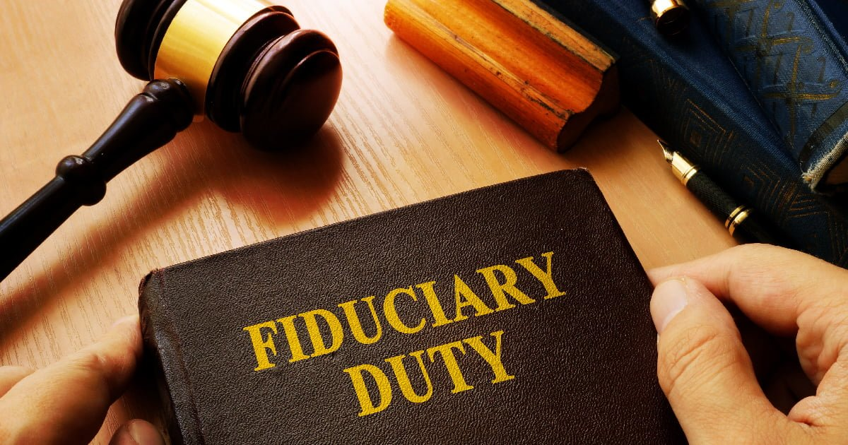 Fiduciary 101: What you need to know - book with 'Fiduciary Duty' on the cover and a courtroom gavel