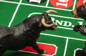 A bull and bear on a roulette table