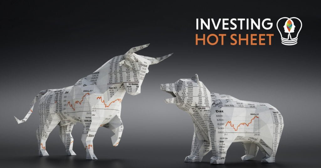 a bull and a bear made out of finanical section of newspaper - investing hot sheet by dreamwork financial