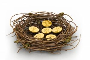 Gold eggs in a nest