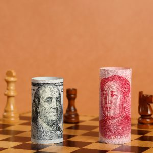 Trade War 101 - US and China money on a chess board