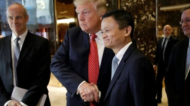 Donald Trump and Jack Ma (CEO of Alibaba) shake hands after a meeting earlier this year.