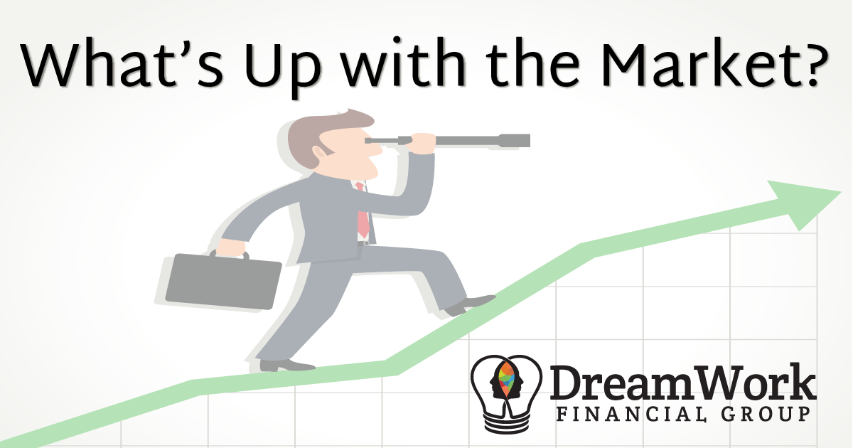 "Man standing on line graph looking ahead, Titled: ""what's up with the market?"" - Dreamwork Financial Group Newsletter"